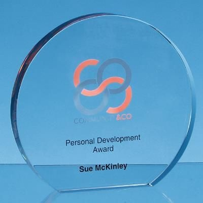 Picture of CLEAR TRANSPARENT GLASS FREESTANDING CIRCLE AWARD