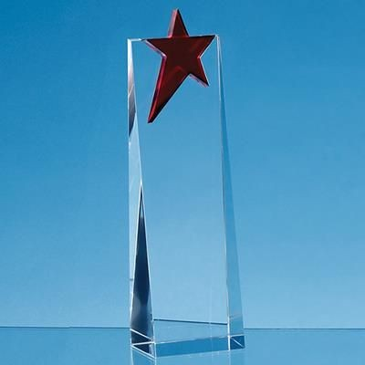 Picture of 18CM OPTICAL CRYSTAL RECTANGULAR with Brilliant Red Star Award