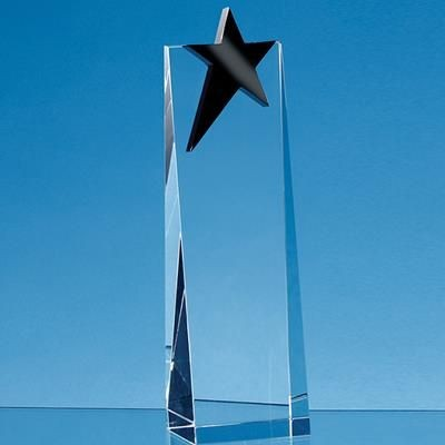 Picture of 18CM OPTICAL CRYSTAL RECTANGULAR with an Onyx Black Star Award