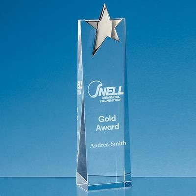 Picture of 27CM OPTICAL CRYSTAL RECTANGULAR with Gold Star