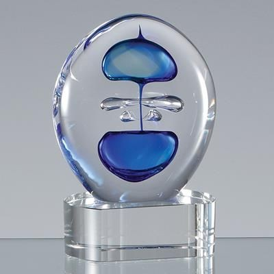Picture of 12CM HANDMADE BLUE & TEAL ROUND CRYSTALART AWARD
