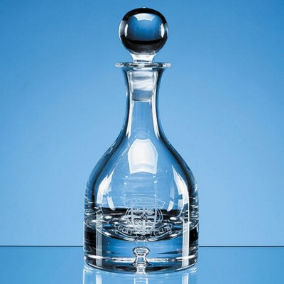 Picture of HANDMADE BUBBLE BASE ROUND GLASS WINE DECANTER