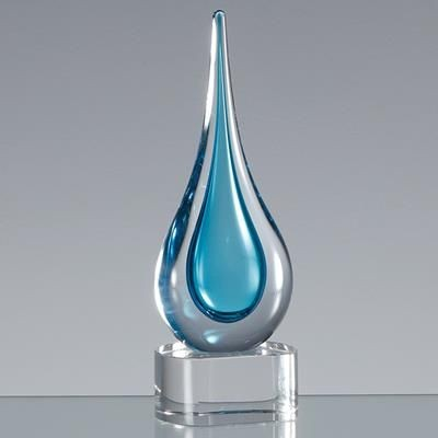 Picture of 18CM HANDMADE CRYSTAL TURQUOISE BLUE TEAR DROP AWARD