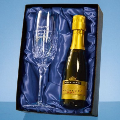 Picture of BLENHEIM SINGLE CHAMPAGNE FLUTE GIFT SET WITH a 20CL BOTTLE OF PROSECCO