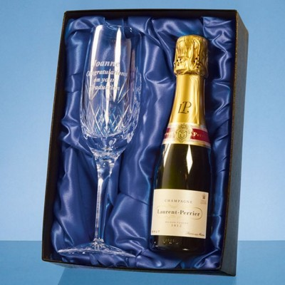 Picture of BLENHEIM SINGLE CHAMPAGNE FLUTE GIFT SET WITH a 20CL BOTTLE OF LAURENT PERRIER CHAMPAGNE