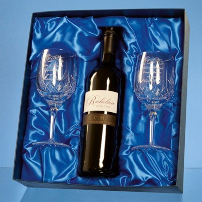 Picture of BLENHEIM DOUBLE GOBLET GIFT SET WITH a 75CL BOTTLE OF RED WINE