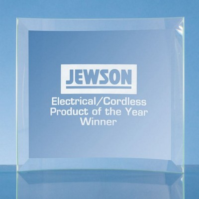 Picture of JADE BEVELLED CRESCENT GLASS PHOTO FRAME AWARD