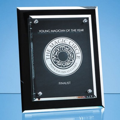 Picture of ONYX BLACK DESK PLAQUE with Mounted Clear Transparent Rectangular