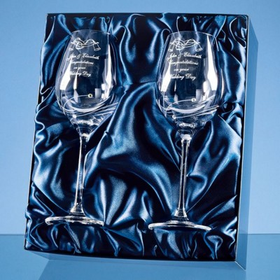 Picture of 2 DIAMANTE WINE GLASSES WITH ELEGANCE SPIRAL CUTTING IN a SATIN LINED GIFT BOX