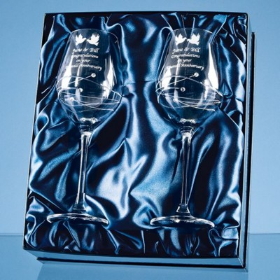 Picture of 2 DIAMANTE WINE GLASSES WITH SPIRAL DESIGN CUTTING IN a SATIN LINED GIFT BOX