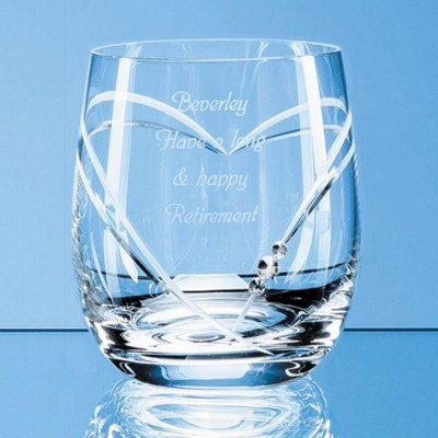 Picture of SINGLE DIAMANTE WHISKY TUMBLER WITH HEART SHAPE CUTTING