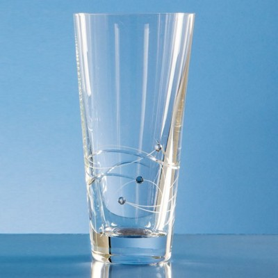 Picture of 20CM DIAMANTE CONICAL VASE WITH SPIRAL DESIGN CUTTING