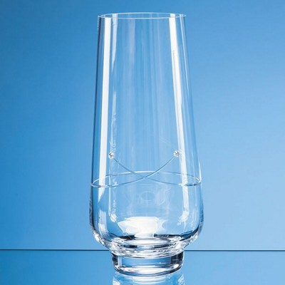 Picture of 26CM DIAMANTE TAPERED VASE WITH a KISS CUT DESIGN