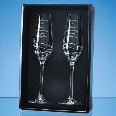 Picture of 2 DIAMANTE CHAMPAGNE FLUTES WITH MODENA SPIRAL CUTTING IN AN ATTRACTIVE GIFT BOX