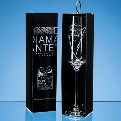 Picture of JUST FOR YOU DIAMANTE CHAMPAGNE FLUTE WITH HEART SHAPE CUTTING IN AN ATTRACTIVE GIFT BOX