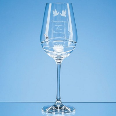 Picture of SINGLE DIAMANTE WINE GLASS WITH MODENA SPIRAL CUTTING