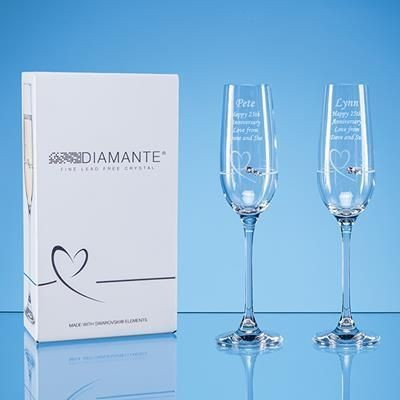 Picture of 2 DIAMANTE PETIT CHAMPAGNE FLUTE with Heart Design in Attractive Gift Box