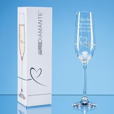 Picture of SINGLE DIAMANTE PETIT CHAMPAGNE FLUTE with Heart Design in Attractive Gift Box