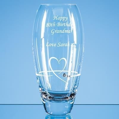 Picture of 18CM DIAMANTE PETIT VASE with Heart Design in Attractive Gift Box