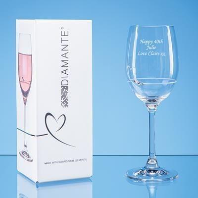 Picture of SINGLE DIAMANTE PETIT WINE GLASS with Heart Design in Attractive Gift Box