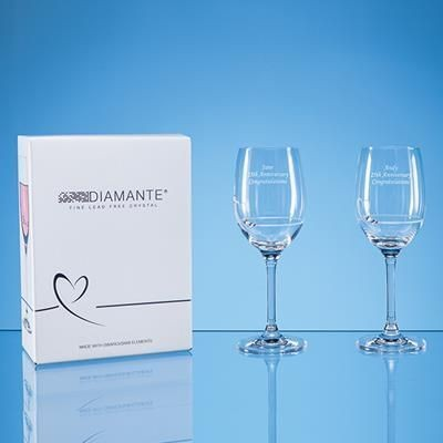 Picture of 2 DIAMANTE PETIT WINE GLASS with Heart Design in Attractive Gift Box
