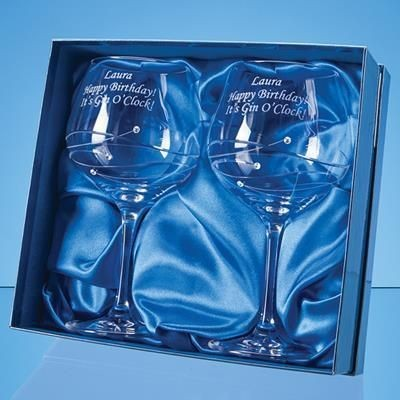 Picture of 2 DIAMANTE GIN GLASSES with Spiral Design Cutting