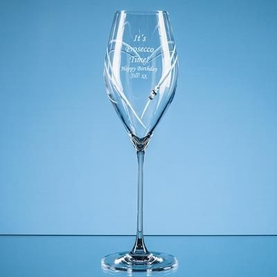 Picture of 320ML JUST FOR YOU DIAMANTE PROSECCO GLASS WITH HEART SHAPE CUTTING