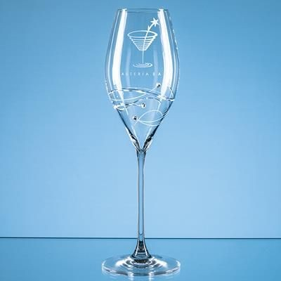 Picture of 320ML JUST FOR YOU DIAMANTE PROSECCO GLASS WITH SPIRAL DESIGN CUTTING