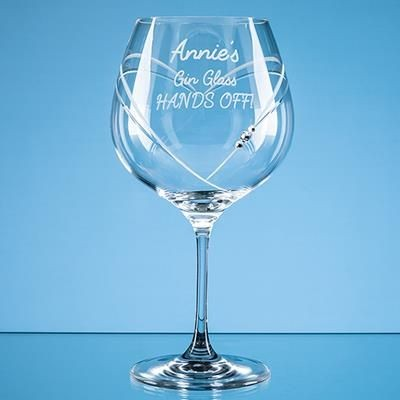 Picture of 610ML JUST FOR YOU DIAMANTE GIN GLASS with Heart Shape Cutting