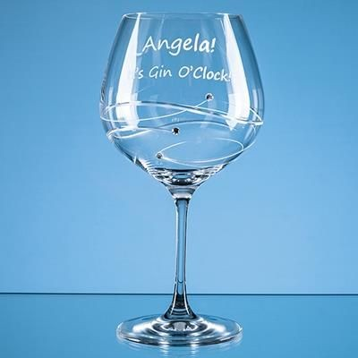 610ML JUST FOR YOU DIAMANTE GIN GLASS with Spiral Design Cutting