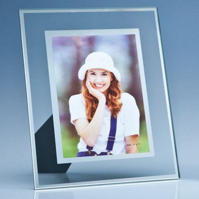 Picture of CLEAR TRANSPARENT GLASS PHOTO FRAME with Mirror Inlay for 5x7 Inch Photo