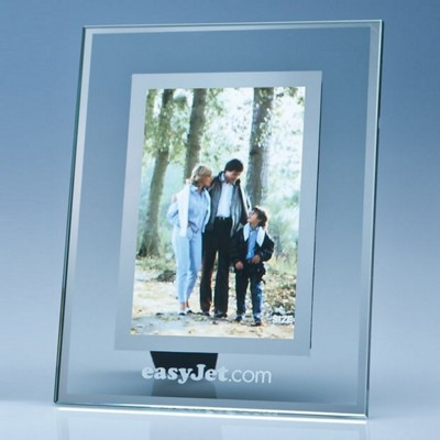 Picture of CLEAR TRANSPARENT GLASS FRAME WITH a MIRROR INLAY FOR 4 INCH x 6 INCH PHOTO, V