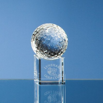 Picture of 5CM OPTICAL CRYSTAL GOLF BALL ON a CLEAR TRANSPARENT CRYSTAL BASE
