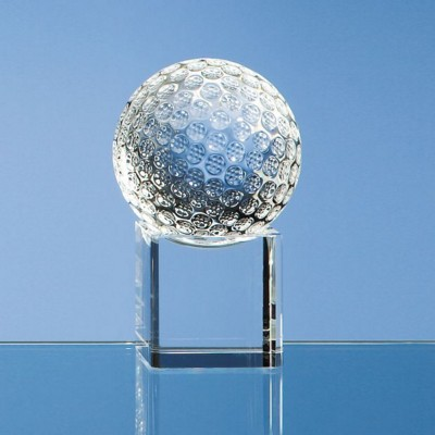 Picture of 6CM OPTICAL CRYSTAL GOLF BALL ON a CLEAR TRANSPARENT CRYSTAL BASE
