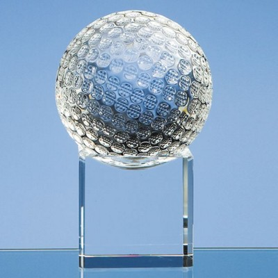 Picture of 8CM OPTICAL CRYSTAL GOLF BALL ON a CLEAR TRANSPARENT CRYSTAL BASE