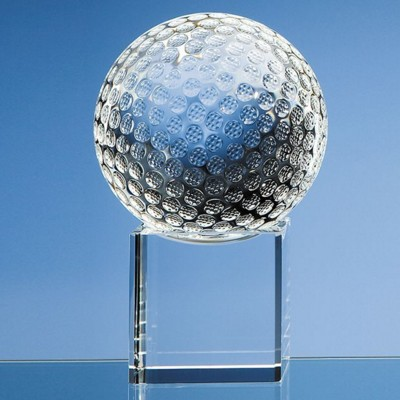 Picture of 10CM OPTICAL CRYSTAL GOLF BALL ON a CLEAR TRANSPARENT CRYSTAL BASE