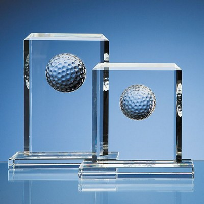 Picture of 15CM OPTICAL CRYSTAL GOLF BALL RECTANGULAR AWARD