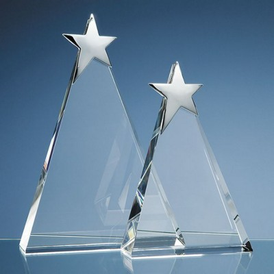 Picture of 20CM OPTICAL GLASS TRIANGULAR AWARD with Silver Star