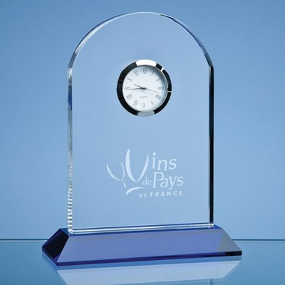 Picture of 16CM OPTICAL CRYSTAL ARCH CLOCK MOUNTED ON a COBALT BLUE BASE