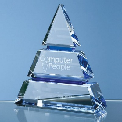 Picture of OPTICAL CRYSTAL LUXOR AWARD with 2 Cobalt Blue Lines