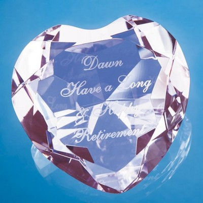 Picture of OPTICAL CRYSTAL PINK FACET HEART GLASS PAPERWEIGHT