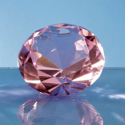 Picture of OPTICAL CRYSTAL PINK DIAMOND GLASS PAPERWEIGHT