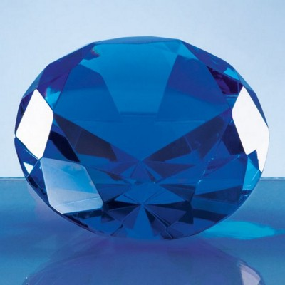 Picture of 8CM OPTICAL CRYSTAL BLUE DIAMOND PAPERWEIGHT