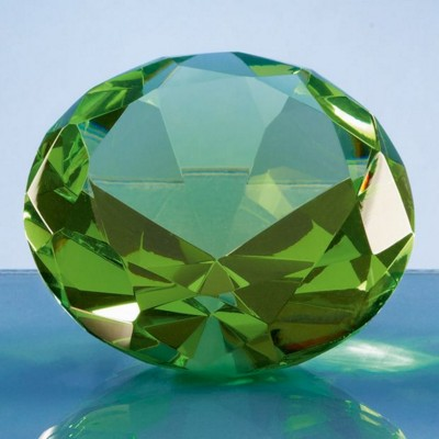 Picture of OPTICAL CRYSTAL GREEN DIAMOND GLASS PAPERWEIGHT