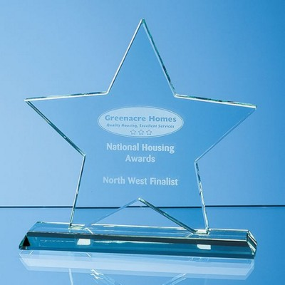 Picture of 15CM x 15CM x 12MM MOUNTED JADE GLASS STAR AWARD