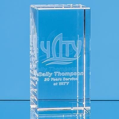 Picture of 3D ENGRAVED OPTICAL CRYSTAL RECTANGULAR PAPERWEIGHT
