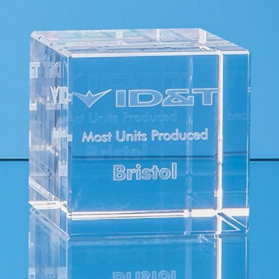 Picture of 3D ENGRAVED OPTICAL CRYSTAL CUBE AWARD