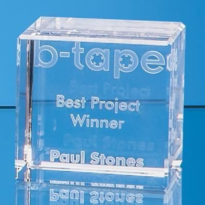 Picture of 3D ENGRAVED OPTICAL CRYSTAL CUBE AWARD 10CMX10CM