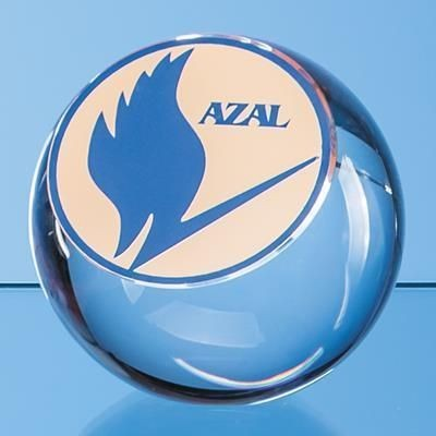 Picture of 10CM OPTICAL CRYSTAL SLICED BALL AWARD with Flat Front