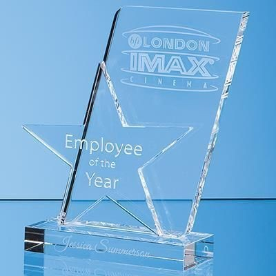 Picture of 20CM OPTICAL CRYSTAL MOUNTED ANGLED STAR AWARD